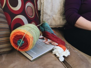 a ball of yarn, a book and kleenex